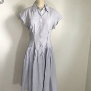 Norma Kamali Button Up Ticking Dress